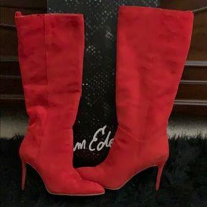 Sam Edelman Red Knee-High Suede Stilettos Boots